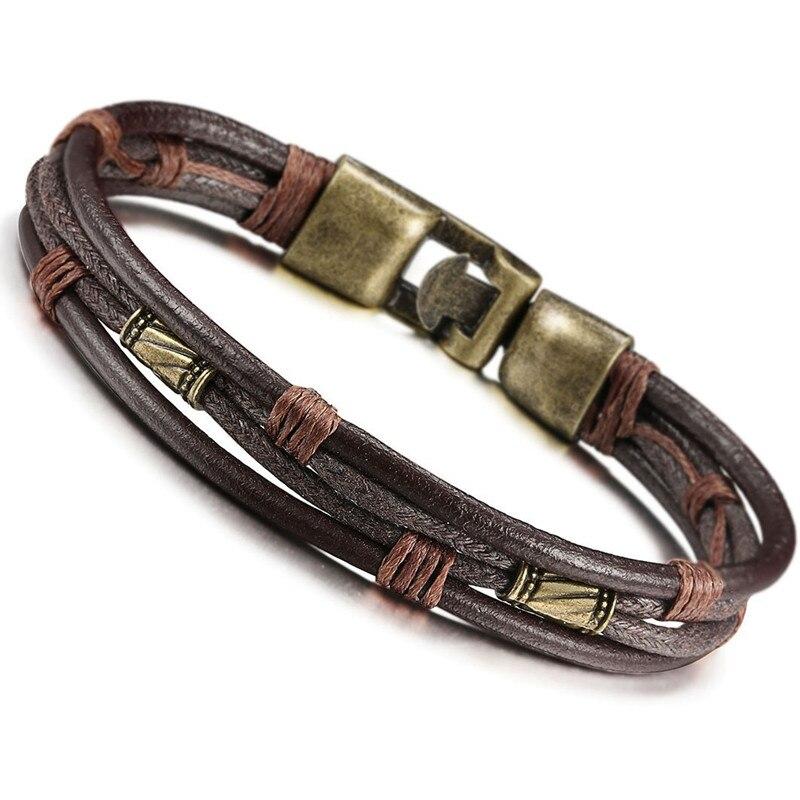 Vintage Leather bracelet men Wrist Band Brown Rope Bracelet Bangle Cuff Bracelets bracciale uomo armband heren bileklik erkek|Chain & Link Bracelets|   - AliExpress