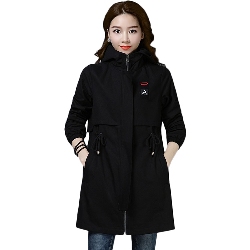 Spring Autumn New Fashion Women Mid-long   Trench   Coat Female Slim Hooded Windbreaker Women's Plus size Office lady Overcoat F032