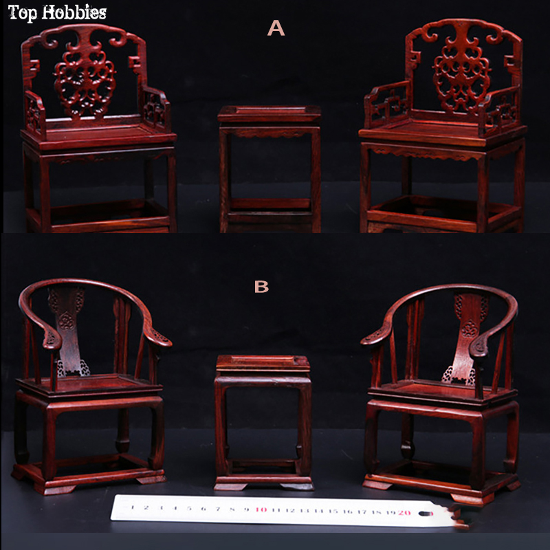 1:6 Scale Scene Prop Furniture Mahogany Wooden Redwood Tables & Chairs Set Model Chinese Style Accessories Fit 12Hottoys Figure