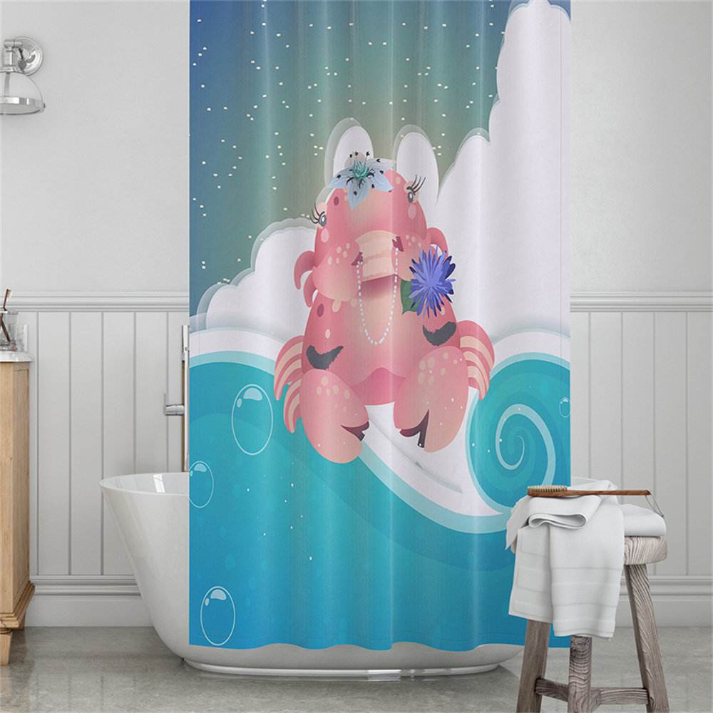 Cute Cartoon Crab Shower Curtain Blue Purple Ocean Wave Print Bathroom Curtains Kids Festival