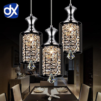 Modern Pendant Chandelier 15W LED Crystal Pendant Lamp Three Head Disc Tray And Rectangular Plate Optional