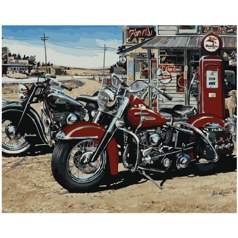 Dropshipping 40x50cm pintura por números diy motocicleta ainda vida parede arte imagem pintura acrílica para a decoração do casamento