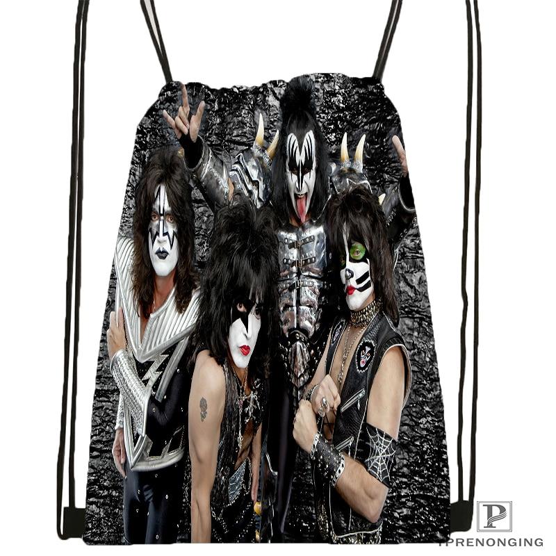 Custom Kiss Rock Band Monster Style Drawstring Backpack Bag Cute Daypack Kids Satchel Black Back 31x40cm