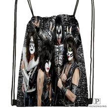 Custom Kiss Rock Band Monster Style  Drawstring Backpack Bag Cute Daypack Kids Satchel (Black Back) 31x40cm#180531-02-46