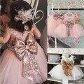 Dhl ems free kids dress 2017 novo partido wedding dress lace sequin arco de volta roupas crianças dress desgaste do dia dos namorados baby dress