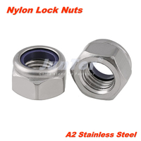 20pcs/lot M2 M2.5 M3 M4 M5 M6 M8 M10 M12 M14 A2 Stainless Steel Metric Thread Nylon Lock Nuts DIN985