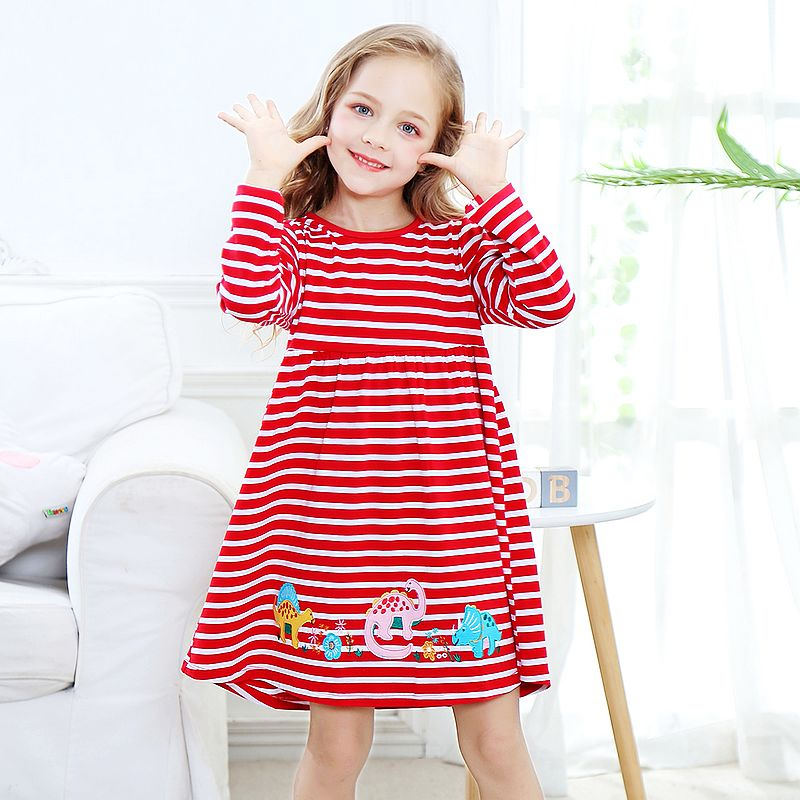Baby Girls Clothes Long Sleeve Girls Dresses with Animal Appliques Children Vestidos Princess Dress for Girl Costume Kids Dress