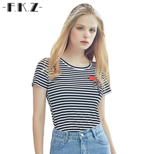 FKZ Casual Summer Women T- Shirts Novelty Rose Floral Embroidery Tops Short Front O-Neck Cotton Striped T Shirt For Girls GNT093
