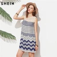 SheIn Mini Dresses Korean Beach Women Clothing Striped Multicolor Sleeveless Print Lace Yoke A Line Dress