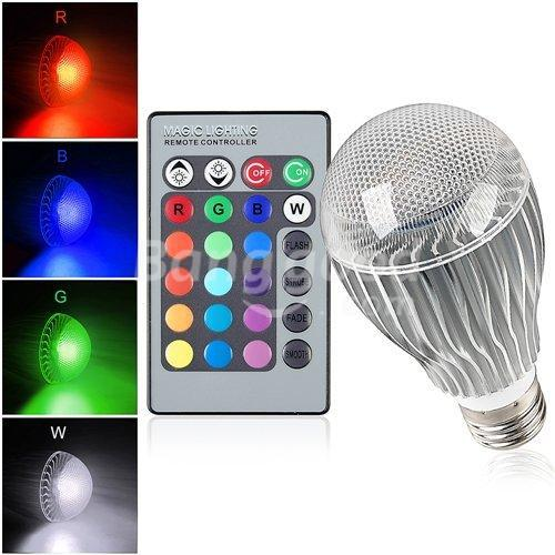 High quality 9W RGB LED Bulb AC85-265V E27 Color Changeable RGB LED Lamp with IR remote control free shipping rgb led bulb 9w 15w rgb bulb e27 e26 e14 gu10 b22 ac 85 265v rgb led lamp with remote control multi color lamp