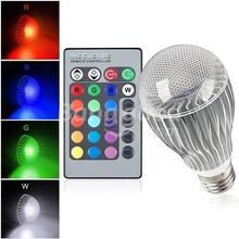 High quality 9W RGB LED Bulb AC85-265V E27 Color Changeable RGB LED Lamp with IR remote control free shipping