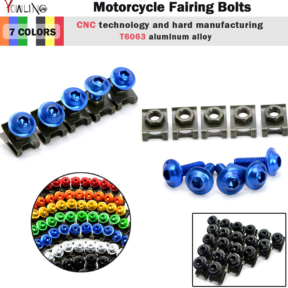 5 pcs 6mm Universal CNC Motorcycle Accessories Fairing body work Bolts Screws For Suzuki GSF1200S Bandit 1200 Vstrom 650 SFV650