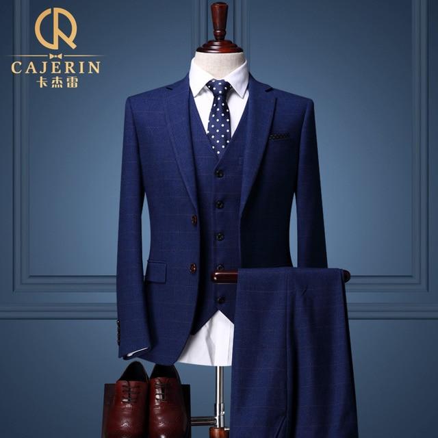 Plaid Royal Blue Tuxedo Skinny Groom Wedding Suits Dress Mens 3 Piece Terno Azul Escuro
