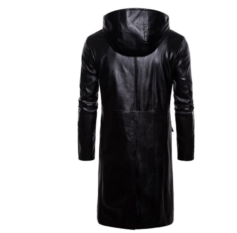 Mens giacca di pelle del motociclo sottile lungo cappotto di pelle giacche da uomo vestiti di strada personalizzato nero di modo di autunno inverno - 3