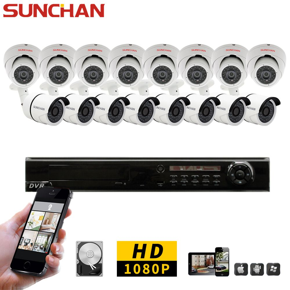 SUNCHAN 16CH CCTV System 1080P DVR 16PCS SONY 1080P AHD In/Outdoor Waterproof CCTV Camera Security System Surveillance 2TB HDD