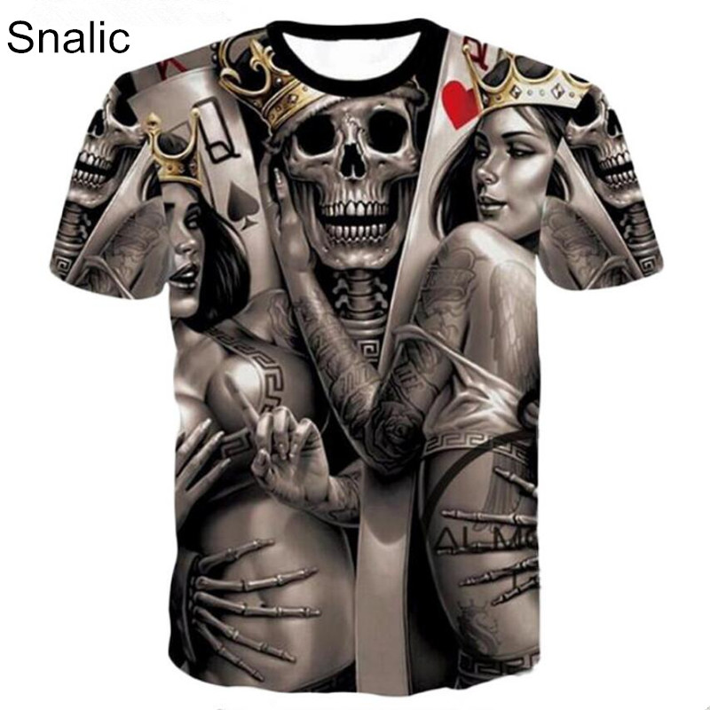 Snalic Men Summer 3D Print t shirt Hipster Short Sleeve Sexy Rock King Queen Skull Joker Printed Casual Loose T-Shirts Plus Size