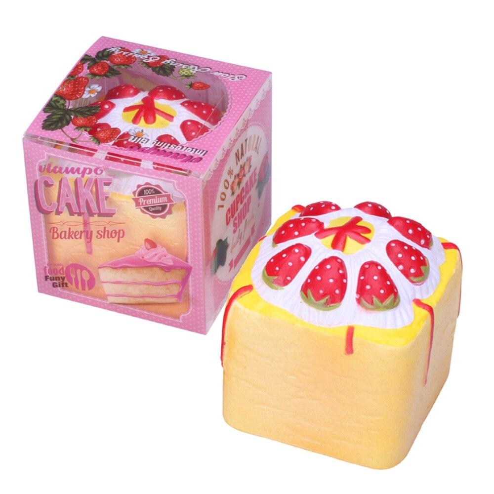 1 pc Retail Beraroma Lambat Naik Squishys Mainan Toast Strawberry cream Kue Rilis Stres Mainan Makanan Squishies Kawaii Berlisensi 9 cm