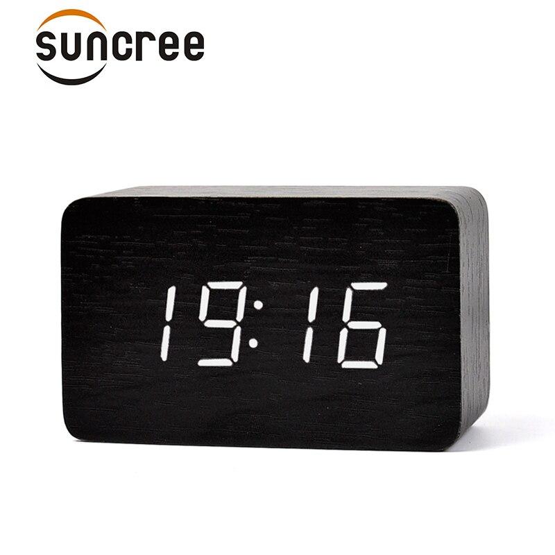 FiBiSonic Bambus grün Neue Thermometer LED Digitaluhr, Klingt Steuer Holz Wecker, Desktop Uhr Drop Shipping