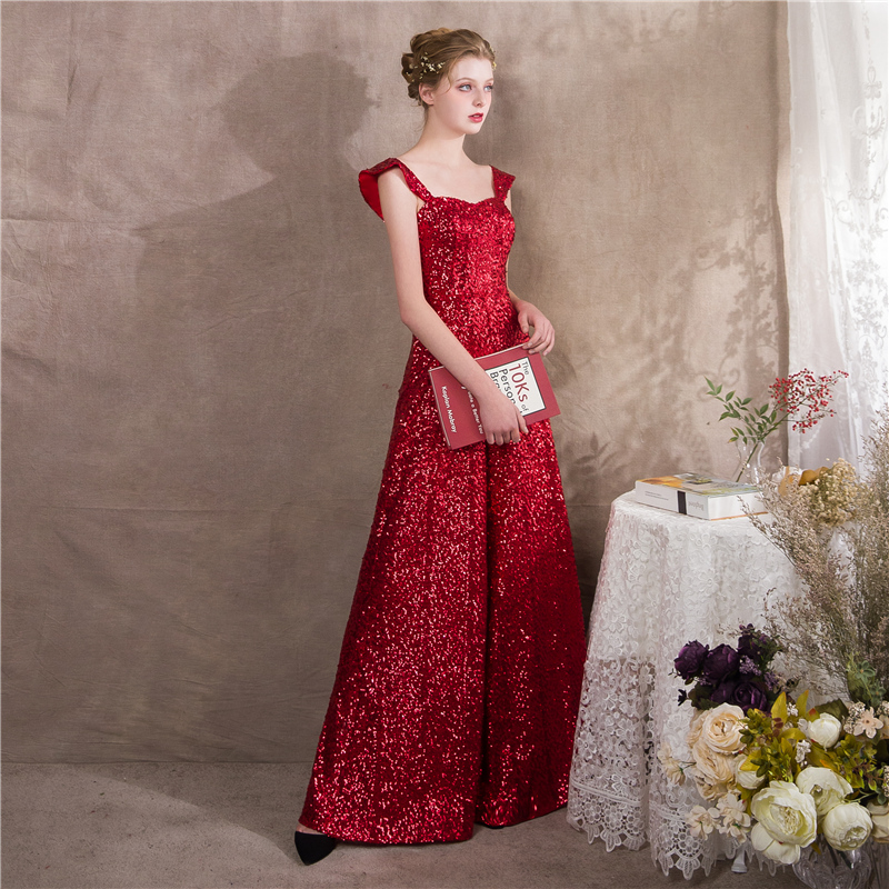 It s Yiiya Red Spaghetti Strap Sequined Zipper Empire Party Dresses Elegant  Jumpsuit Formal Pant Suit Evening Dress Pants NX002 01ca3432bfa9