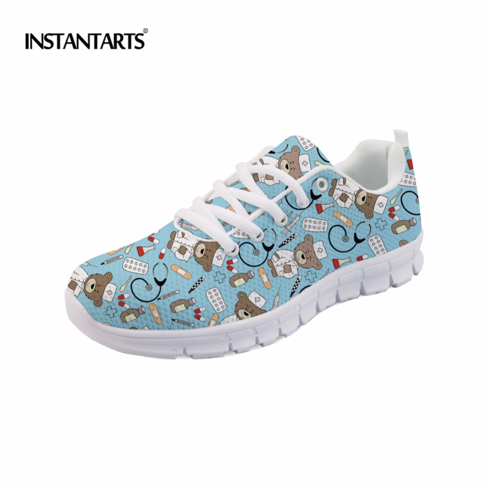 INSTANTARTS Fashion Nurse Bear Print Women Sneakers Casual Lace-up Mesh Flats Shoes for Teen Girls Nursing Pattern Spring Shoes instantarts cute glasses cat kitty print women flats shoes fashion comfortable mesh shoes casual spring sneakers for teens girls