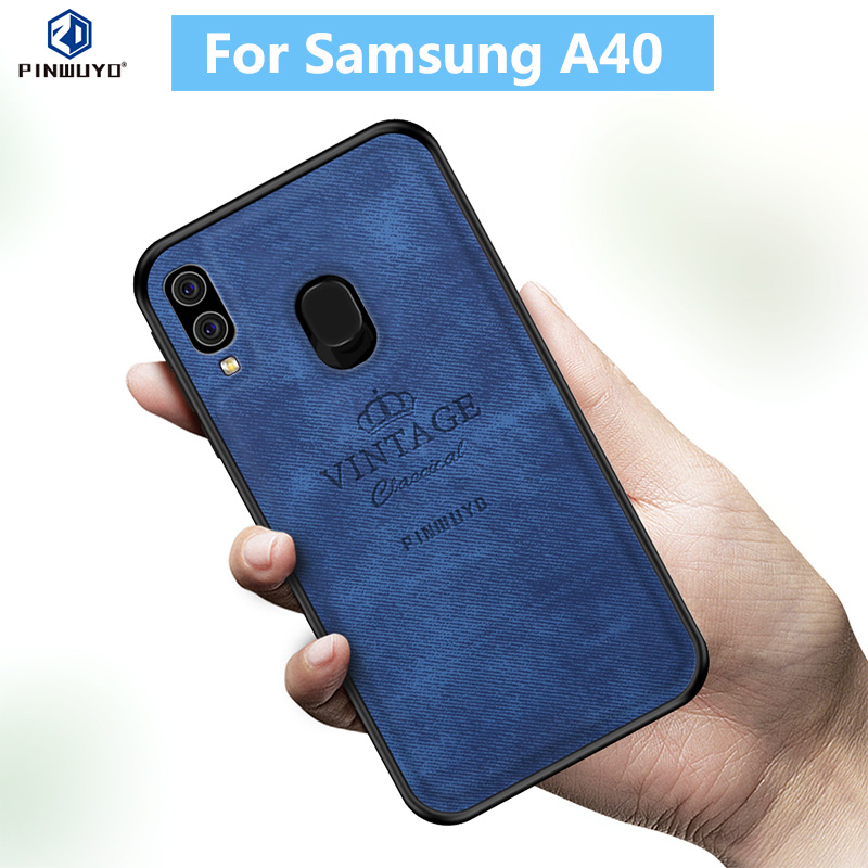 Fors Samsung A40 Case Original PINWUYO VINTAGE PU Leather Protective Phone for Galaxy Back Shell Cover Cases