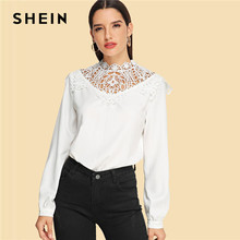 e062016e831 SHEIN White Modern Lady Weekend Casual Lace Contrast Mock Neck Stand Collar  Cut Out Solid Top Women Autumn Elegant Blouses