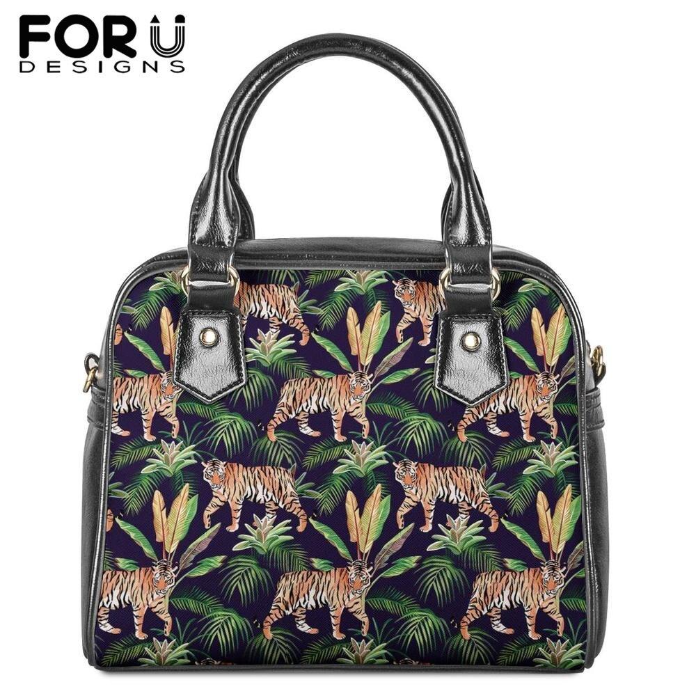 FORUDESIGNS PU Totes sac Ladise tigre Jungle imprimé cuir épaule sac pour femme loisirs Messenger sac de luxe croix corps sacs à main