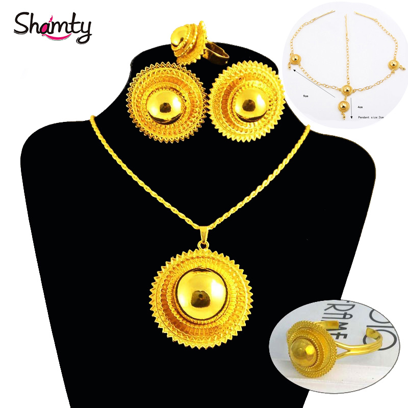 Shamty Ethiopian Bridal Jewelry Sets Women Trendy Pure Gold Color Set African Nigeria Sudan Eritrea Kenya 3 Different Size