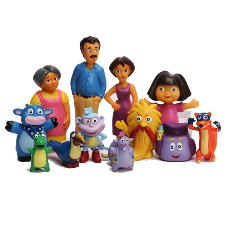 12pcs/set Anime Cartoon Dora PVC Action Figures Toys Dora The Explorer Children Kids Toys For Children Birthday Dolls Gifts