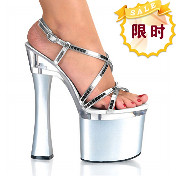 Shining Silver 18CM Sexy Super High Heel Platforms Pole Dance / Performance / Star / Model Shoes, Wedding Shoes stylish sweet lace up 17cm sexy super high heel platforms pole dance performance star model shoes wedding shoes 3 colours