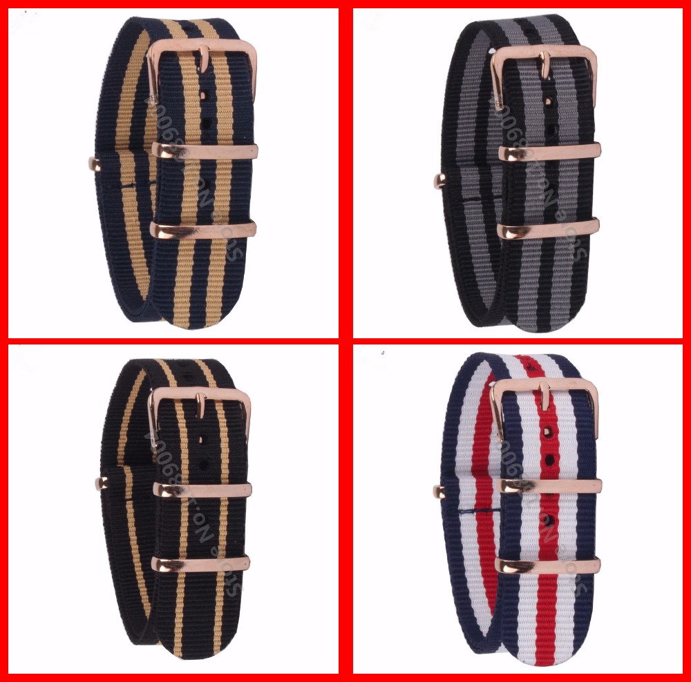 18mm 20mm 22MM Watchband High Quality NATO Nylon Wach Band Rose Gold Buckle Zulu Watch Strap 4 Color Available 18mm 20mm 22mm watchband high quality nato nylon wach band rose gold buckle zulu watch strap 4 color available