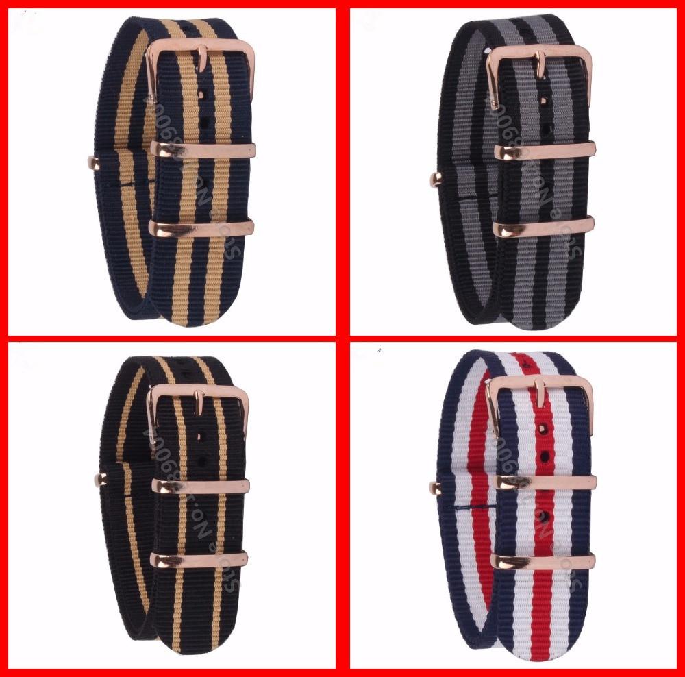 18mm 20mm 22MM Watchband High Quality NATO Nylon Wach Band Rose Gold Buckle Zulu Watch Strap