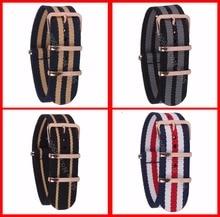 18mm 20mm 22 MM Correa de reloj de Alta Calidad De Nylon De LA OTAN Banda Wach de Rosa Hebilla de Oro Correa de Reloj Zulu 4 Color Disponible