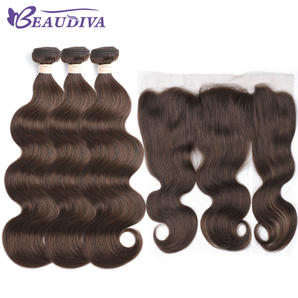 Body Wave Bundles With Frontal 4# 100% Human Hair Bundles With Closure Brazilian Hair Weave Bundles With Closure