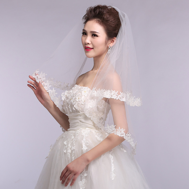 New 2016 Hot Sale wholesale/retail100% guarantee lace edge wedding veil/bridal veil/bridal accessories/head veil/tulle veil