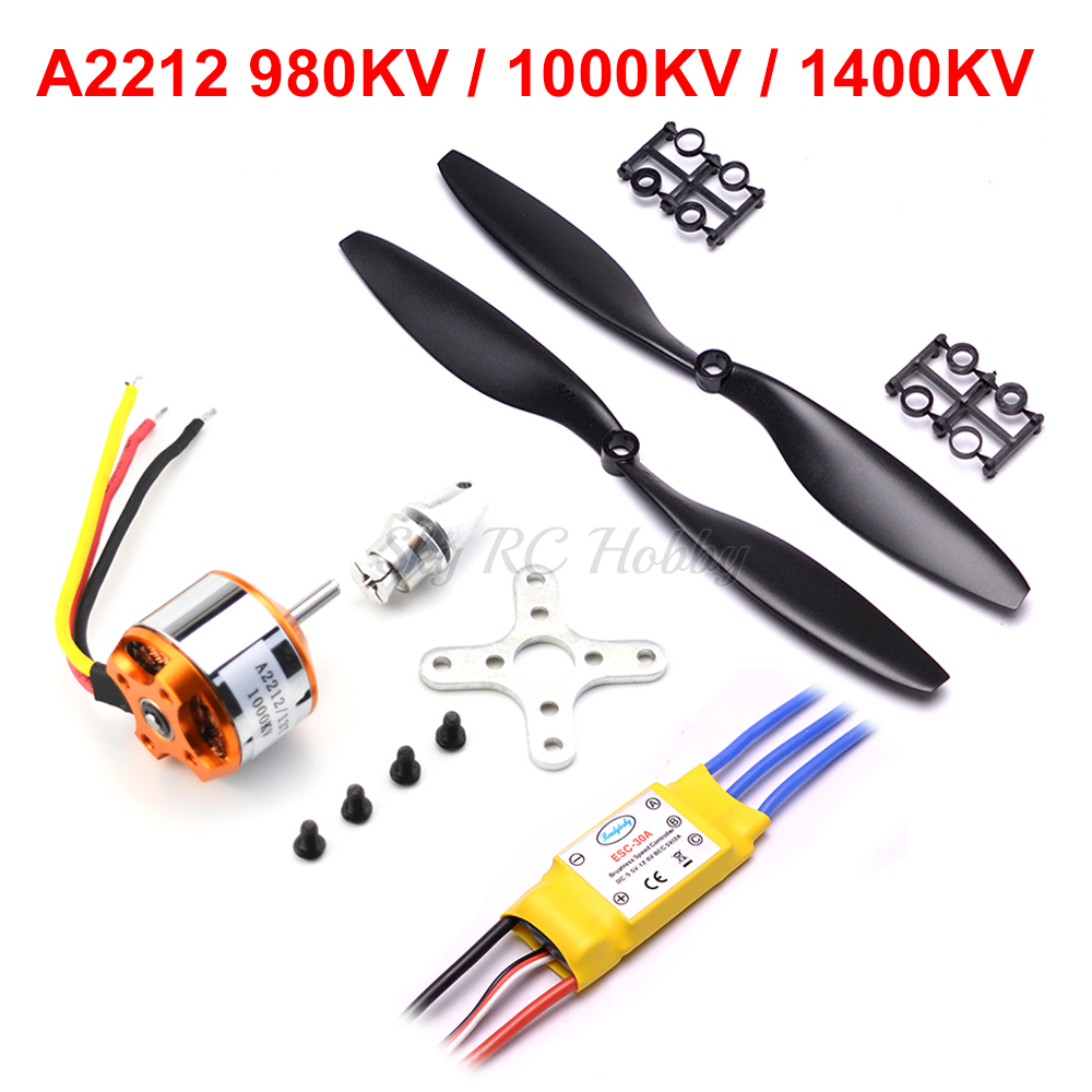A2212 2212 800KV 1000KV 1400KV Brushless Outrunner Motor 30A Brushless ESC For DIY RC Aircraft Quadcopter Hexacopter Multirotor
