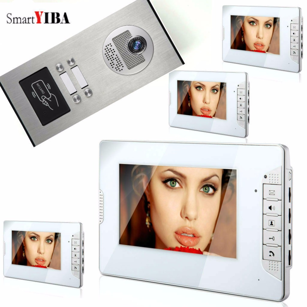 SmartYIBA  Rfid 7 LCD Monitor Video Door Phone System For 4 Units Household Video Intercom Doorbell Home Apartment Entry Kit new 7 tft lcd video door phone intercom doorbell system 4 monitor screens 1 outdoor camera door bell for 4 families apartment