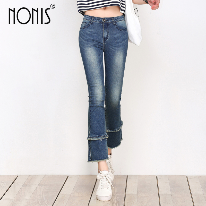 Nonis High Waist women 2017 summer flare pants ankle length plus size female denim small horn Slim Sexy jeans trousers pant high waist jeans women plus size femme stretch slim loose large size jeans pants 2017 casual ankle length haren pants trousers