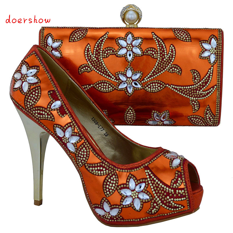 Fashion Italian Woman Matching Shoes And Bag Set For Party, High Quality Shoes And Bags Set for Wedding doershow WOW37