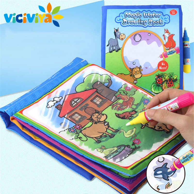 VICIVIYA 1 Pcs New Arrival Coloring book Kids Animals Painting Magic Water Drawing Book Water Coloring Book Doodle Kids Toy^