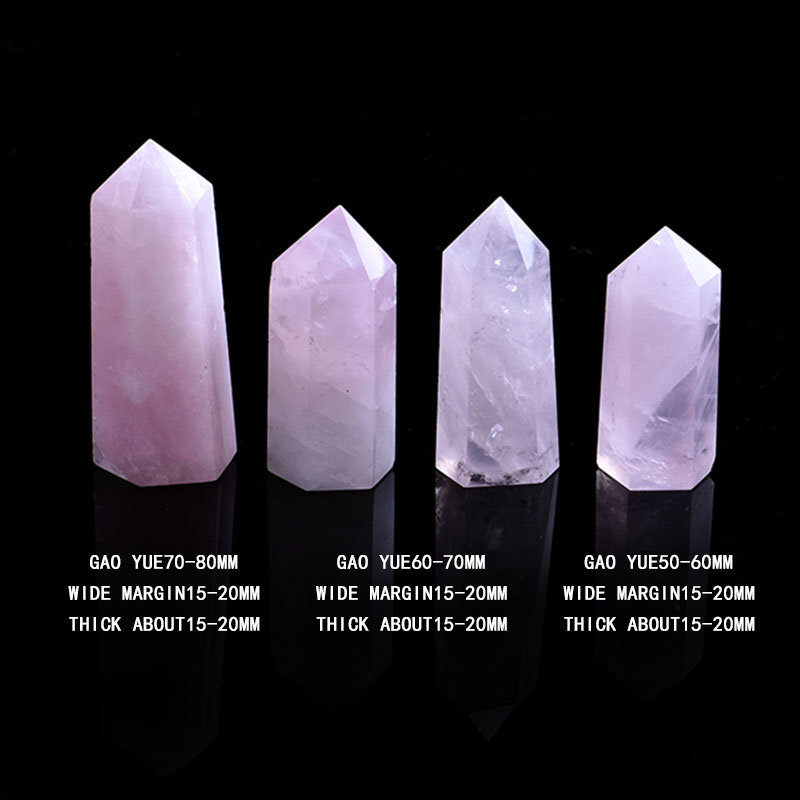1PC Natural Rose Quartz Crystal Point Mineral Ornament Magic Repair Stick Family Home Decoration Study Decoration DIY Gift 5