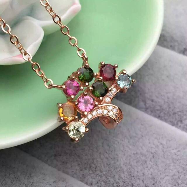 все цены на Natural multicolor tourmalineNecklace natural gemstone Pendant Necklace S925 silver Fashion Elegant Christmas tree Jewelry онлайн