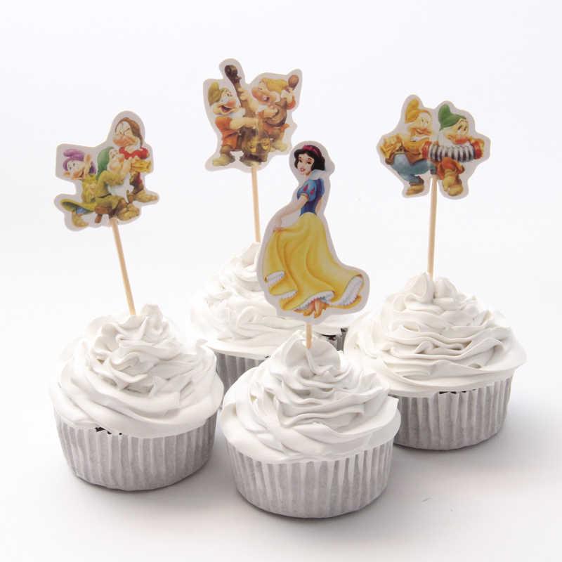24pac/lot neve branca cupcake topper feliz aniversário festa de chuveiro do bebê crianças festa cake decoração suprimentos