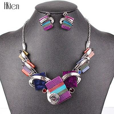 MS20676 модные ювелирные наборы, посеребренные фиолетовые/леопардовые/синие/серые цвета, уникальный дизайн, вечерние подарки, высокое качество - Окраска металла: Purple
