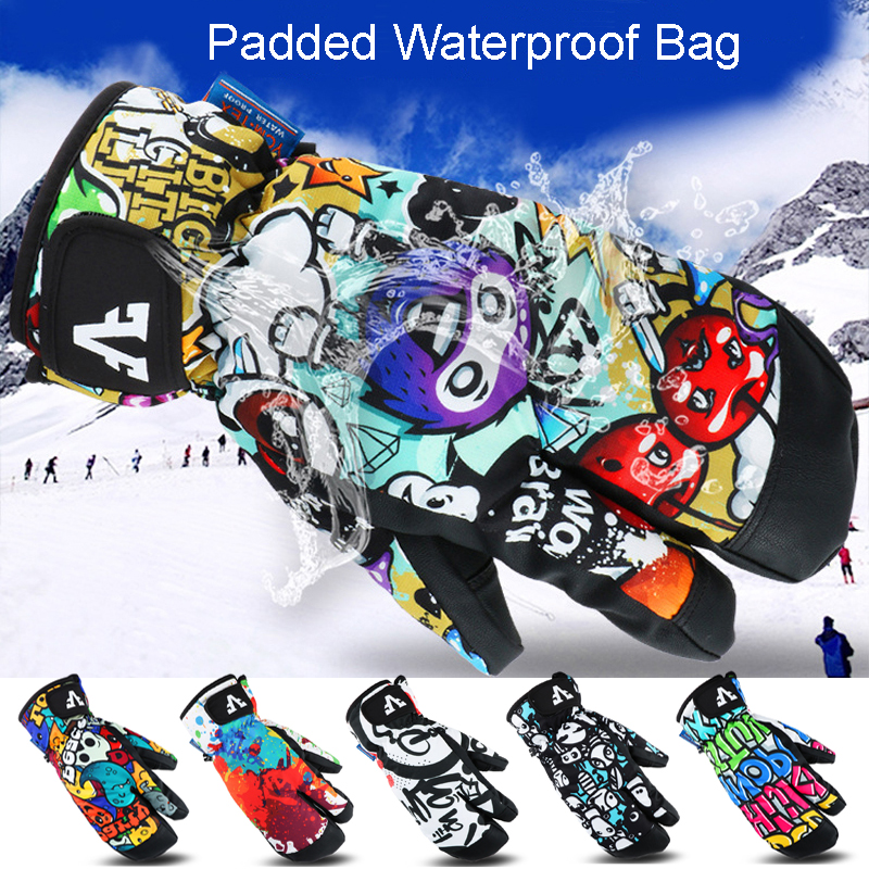 Image 2 - Professional Snowboard Ski Gloves men women 3 Finger Mittens Winter  30 Skiing snowmobile windstopper snow Handschoemen monster-in Skiing Gloves from Sports & Entertainment