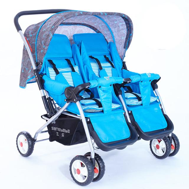 Nova Chegada De Luxo Mais Barato de Alumínio Dobrável Gêmeo Do Bebê Carrinho De Bebê Carrinhos e Carrinhos de bebé de Dois Lugares Europeus Frete Grátis