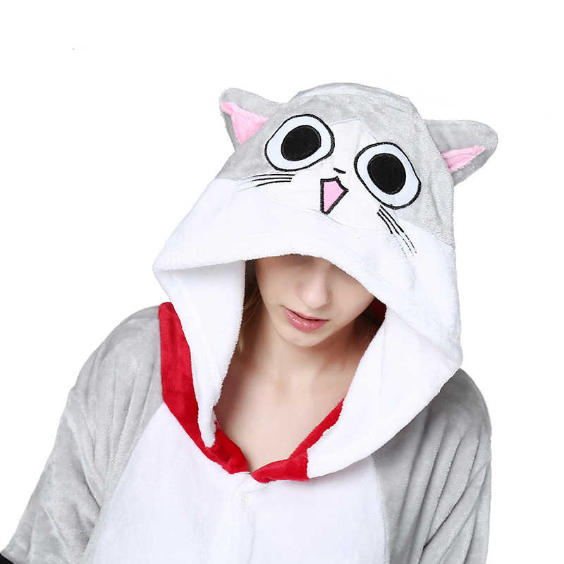 Plus Size Unisex Pajamas Sets Women Sleepwear Cartoon Cat Flannel Hooded  Pijama Mujer Winter Kigurumi For def50159ec3d