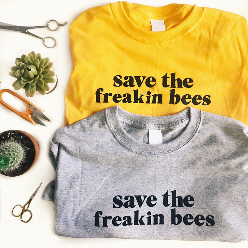 Save The Freakin Bees Unisex Streetwear Tshirt Cotton Graphic Tees Women Funny T Shirts Pink Aesthetic Vintage T-shirt Dropping