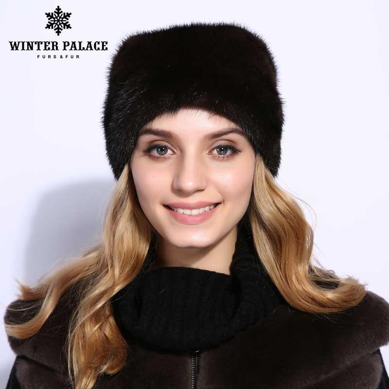 Cappelli di Pelliccia Di visone Per Le Donne Reali della Pelliccia di Inverno Delle Donne Cappelli di Strass di Alta Qualità Berretti Berretti