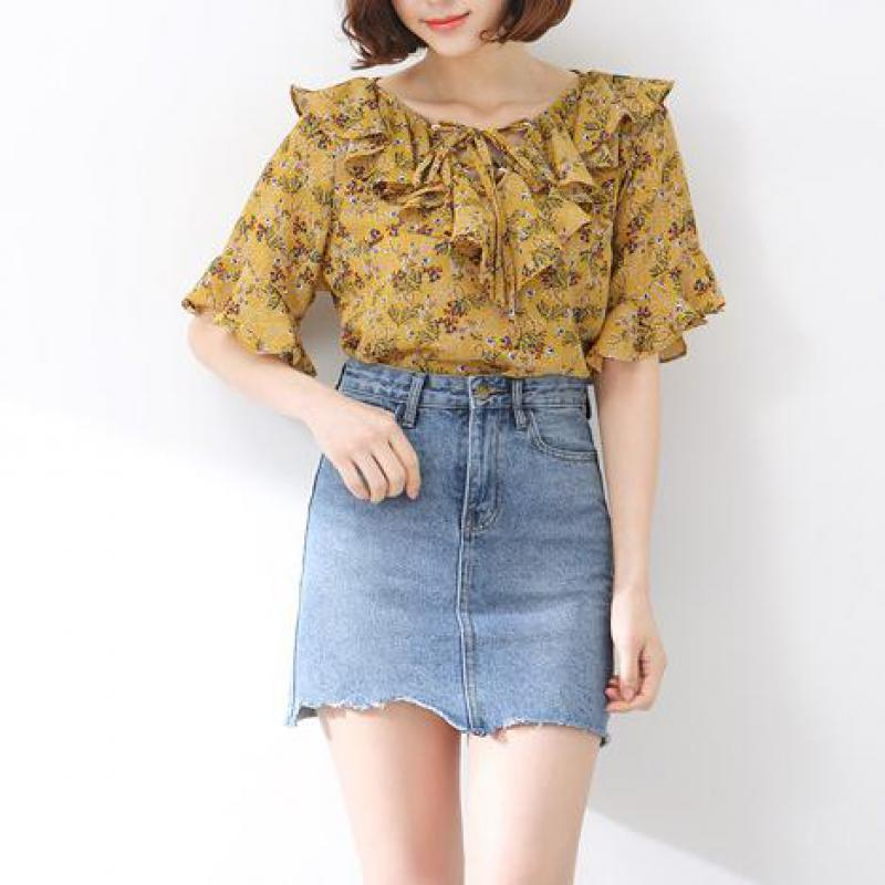 New Women High Waist Jupe Irregular Edges Denim Skirts Female Mini Saia Summer Jeans Skirt Washed Faldas Casual Pencil Skirt